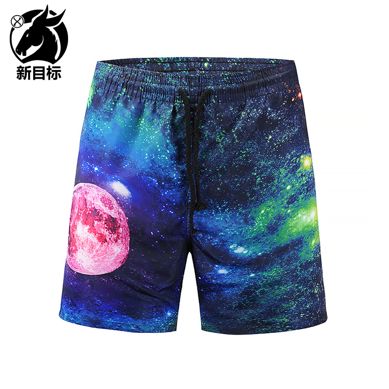 2018 New Casual Shorts Men The starry sky universe Elastic Waist Beach Shorts Mens Quick Drying Jogger Board Shorts