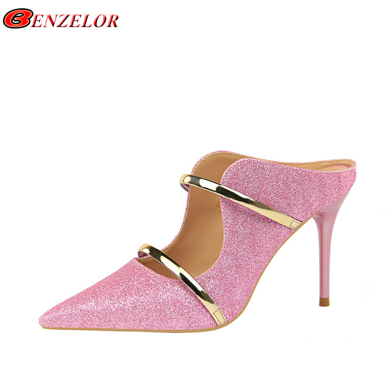 ae162c2a0752a9 Detail Feedback Questions about BENZELOR 2019 Summer Shiny Sequin Sexy High  Heels Slides Shoes Women Slippers Luxury Bling Female Ladies Wedding Party  ...
