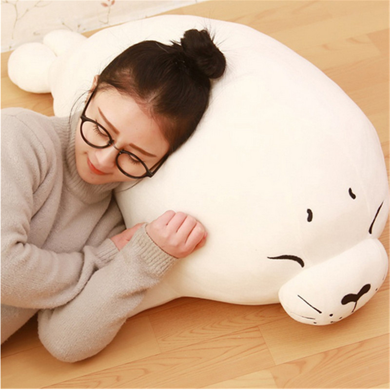 Fancytrader Seal Plush Baby Doll Large Stuffed Cartoon Animal Arctic Seal Toy White Bear Kids Gift Pillow  39inches 100cm 65cm plush giraffe toy stuffed animal toys doll cushion pillow kids baby friend birthday gift present home deco triver