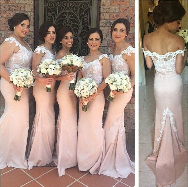 Pink Mermaid Bridesmaid Gowns Off Shoulder Lace Applique Long ...