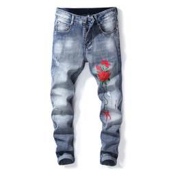 Mcik новые модные мужские Плиссированные нашивки джинсы с цветочной вышивкой джинсовые брюки мужские Прямые повседневные джинсы брюки