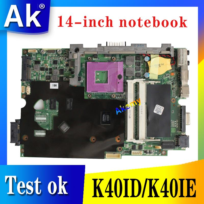 AK K40IE/K40ID Laptop motherboard for ASUS K40ID K50ID K40IE K50IE X50DI K40I K50I Test original mainboard  14 inch-in Motherboards from Computer & Office    1