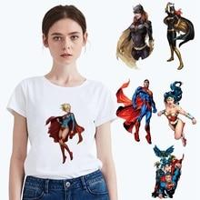 Plus Size Summer DC Cartoon Superman Batman Pattern Modal Womens O-neck Short Sleeve Leisure fashion Cotton White T-Shirt