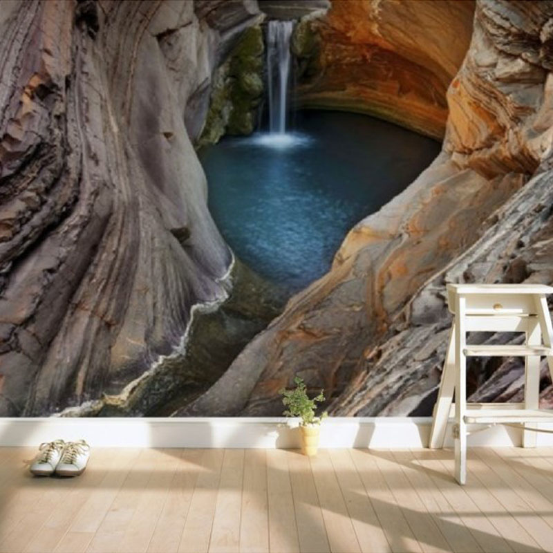 Personalized Customization 3D Stereo Cave Waterfall Mural Wallpaper Living Room Gallery Modern Creative Decor Wallpaper Frescoes