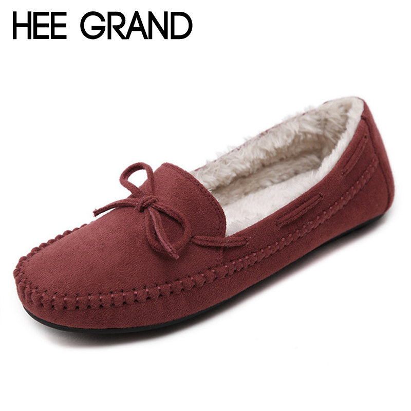 HEE GRAND Faux Fur Winter Warm Flat Shoes Woman Platform Solid Loafers Slip On Flats Fashion Round Toe Bowtie Women Shoes XWM260 casual flat shoes woman 2018 spring solid loafers slip on flats fashion round toe women shoes 3 colors size 35 40 f039