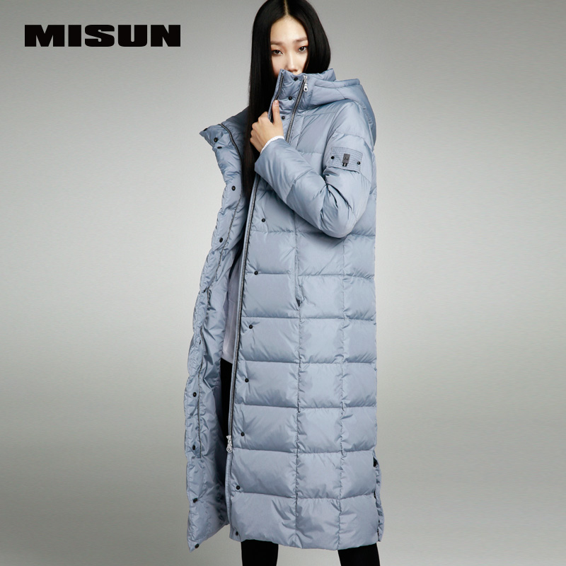 Misun embroidery lengthen thickening over-the-knee long design with a hood down coat female