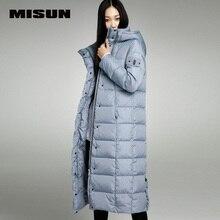 Misun вышивка удлинить утолщение более-колено долго дизайн с капюшоном вниз пальто женщин