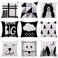 Nueva funda de cojín blanco y negro dibujos animados oso Panda algodón poliéster hogar almohadas decorativas funda para sofá coche Cojines