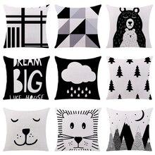 Черный и белый чехол для подушки с рисунком Крутой панды медведь хлопок полиэстер домашний декоративный чехол на подушки для дивана автомобиля Cojines