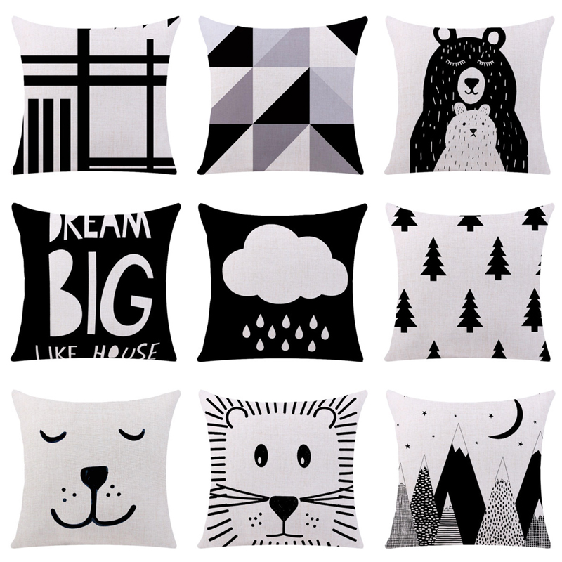 NEW  Black And White Cushion Cover Cartoon Cool Panda Bear Cotton Polyester Home Decorative Pillows Cover For Sofa Car Cojines