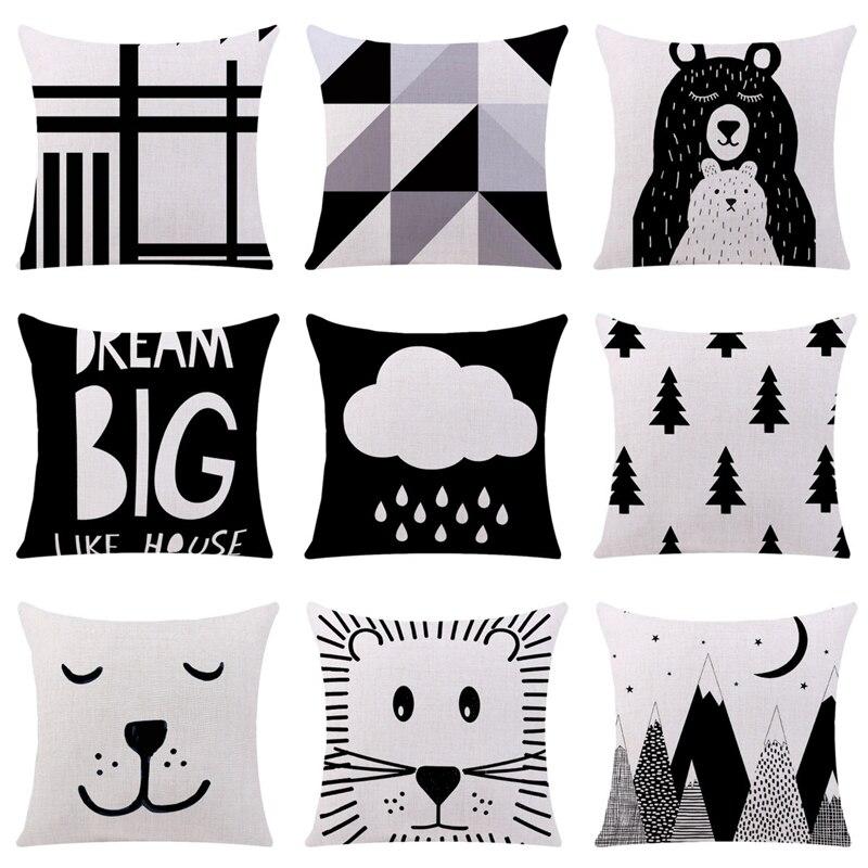 Nuevo Negro y funda para cojín blanco dibujos animados oso Panda fresco algodón poliéster hogar funda decorativa para almohada para sofá coche Cojines