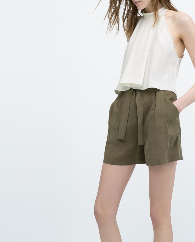 Ladies Casual Army Green High Waisted Sashes Pleated Front Shorts ...