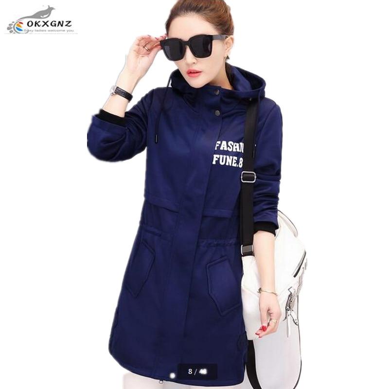 OKXGNZ Large size Spring Windbreaker Coat 2017 New Korean Fat MM Slim Casual Windbreaker Women Long section Women Autumn Jacket