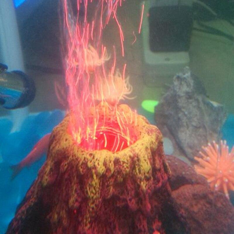 Aquarium led air drive volcano fish tank resin decoration for Aquarium volcano decoration