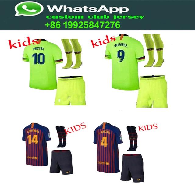 Venta 2019 Barcelonaes hogar traje de niños + calcetines camisetas de 2018  a 2019 niños de b8c866ac77f