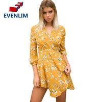 EVENLIM Deep V Boho Beach Summer Dress Women Vintage Lace Up Ruffle Dresses Flower Chiffon Short