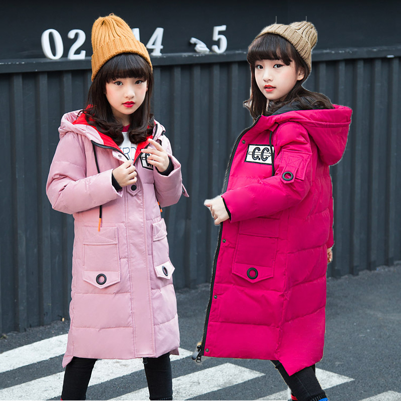 2018 Children Girls Down Jacket Kids Warm Thickened Winter Outwear Coat Girl Winter Parka Teenage Long Winter Jacket 120-160 new pattern winter jacket men cotton padded loose coat long down thickening cotton oversize parka casual warm outwear