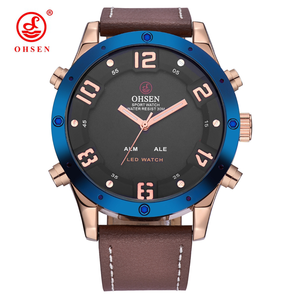 Fashion OHSEN Quartz Digital Watch Men Male Business Watch Waterproof Leather Band LED Gold Blue Electronic Wristwatches Relogio hoska hd030b children quartz digital watch