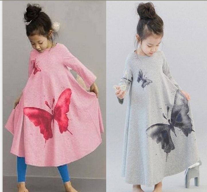 korean girl CLOTHING spring autumn christams GRAY PINK dress girls party clothes Large butterfly trumpet baby
