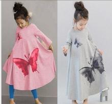 Корейская девушка одежда весна осень christams серый розовом платье девушки ну вечеринку одежды больших размеров бабочка труба ребенка принцесса