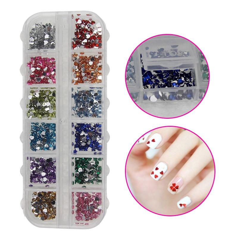 High 1400PCS 12 Colors Heart-shaped Nail Art Crystal Rhinestone Resin 3D Decorations DIY Salon Express Manicure Tools 88