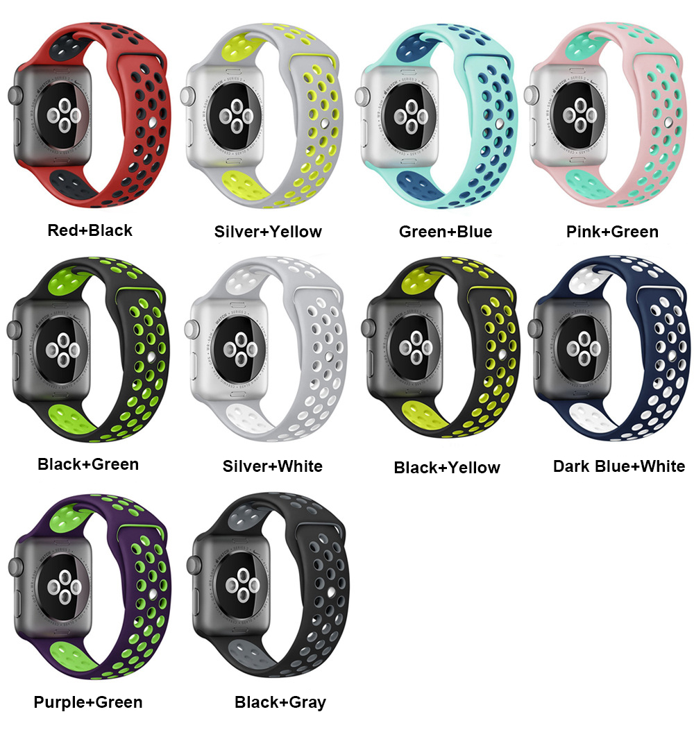 все цены на  Sport Silicone band strap for apple watch nike bracelet wrist band watch watchband For Apple Watches Series1 Series2 42mm 38mm  онлайн