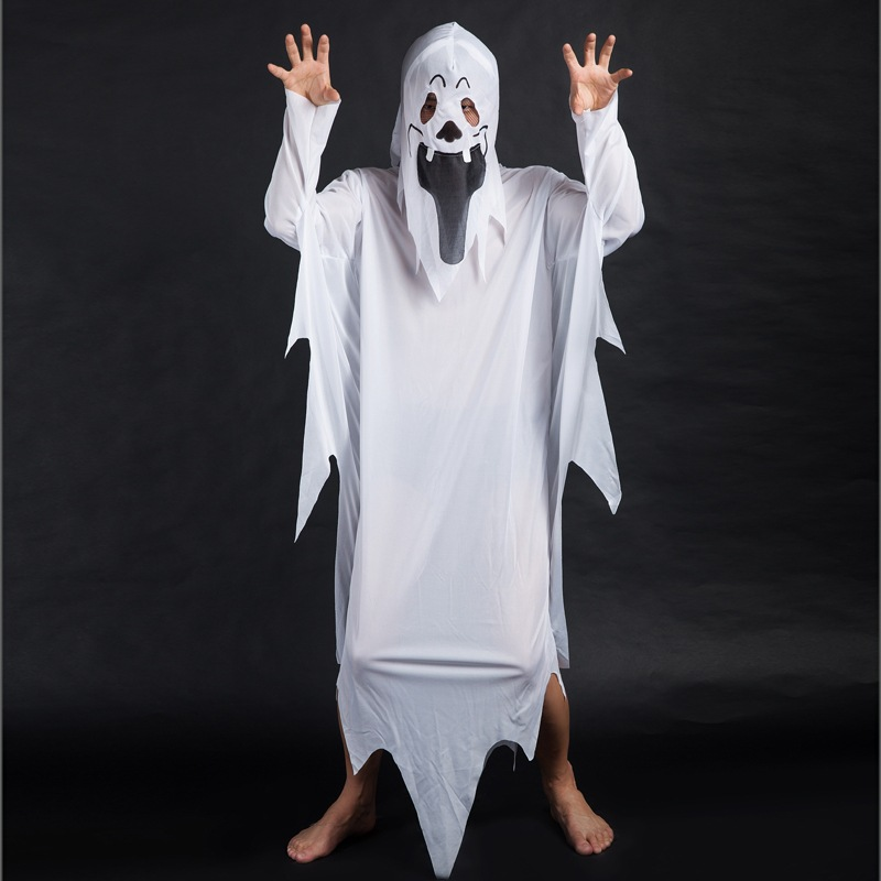 White Ghost Cosplay Costumes Boys Girls Clothes Sets Halloween Christmas Fancy Party Dress Ghost Cloak+Head Cover 2Pcs Kids Suit free shipping dhl high quality 2 colors kids gougou senta fancy dress lycra suit halloween zentai party cosplay custome kc2051