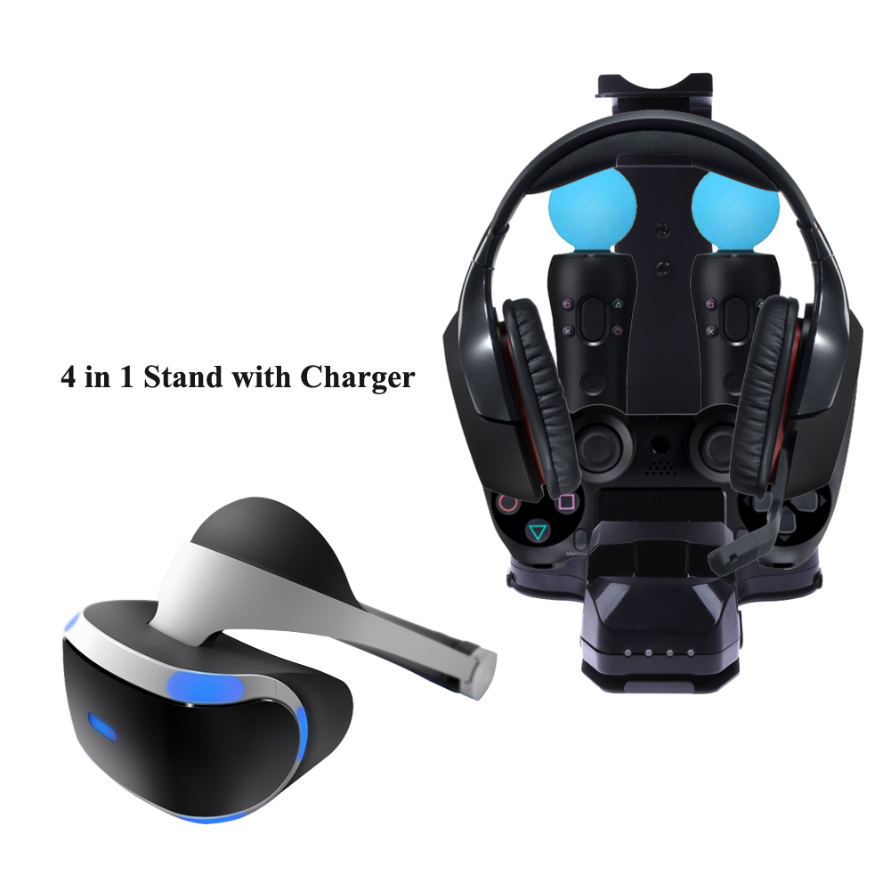 4 in 1 Stand with Charger Charging Station for PS4 PlayStation PS VR Camera Headset for Dual Vibration 4 and Move Controller masiken 2m replacement sensor camera adapter extension cable for playstation 4 ps4 vr eye game accessories