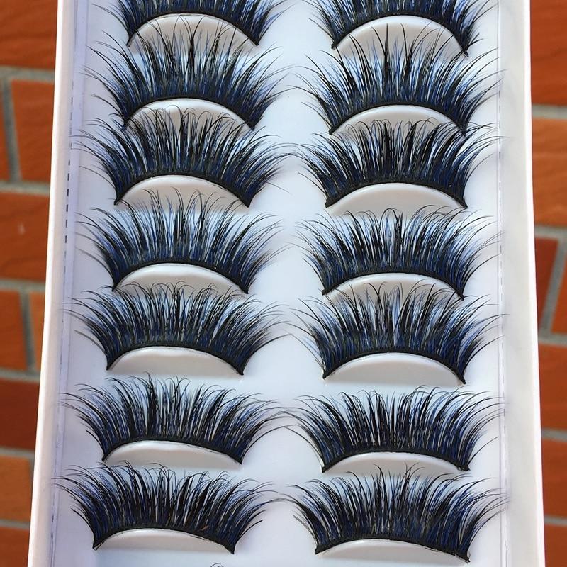 10 pairs Blue Black Cross False Eyelashes Fashion Party Make-up Tools Eye Lashes Color Curling Thick Exaggerated Fake Eyelashes