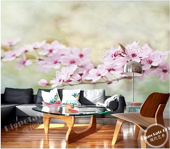 The custom 3D murals,dream  fresh flowers bloom pink cherry blossoms,living room sofa TV wall bedroom background wall paper