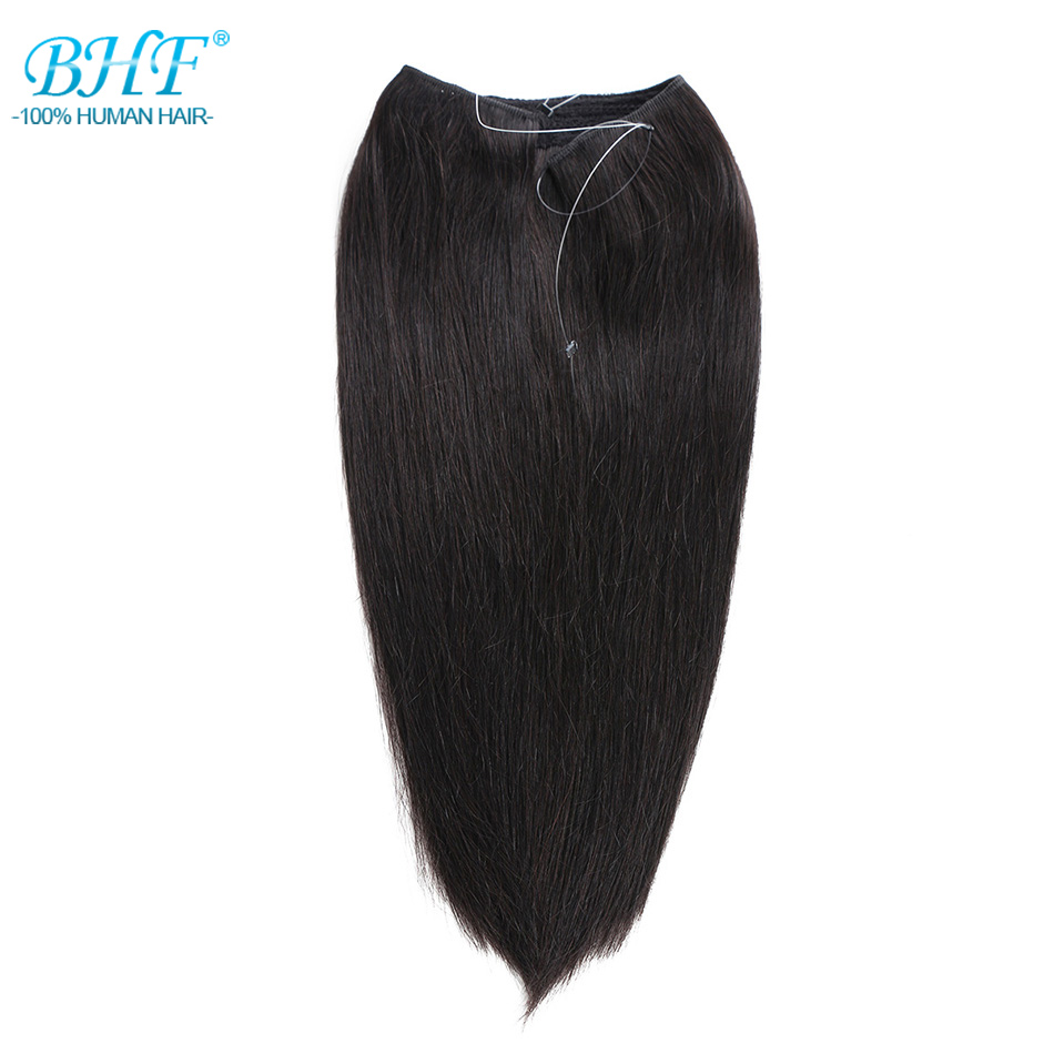 BHF Machine Made Remy Fish Wire Straight 100% Human Hair Extensions Invisible Flip In Human Hair Extensions