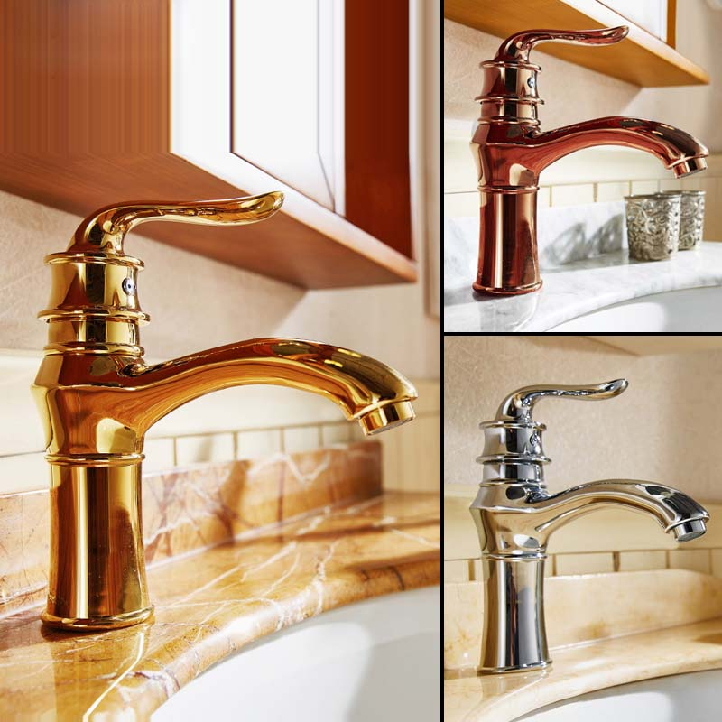 New various type and color charming sink antique gold rose gold chrome bathroom faucet brass for Gold and chrome bathroom faucets