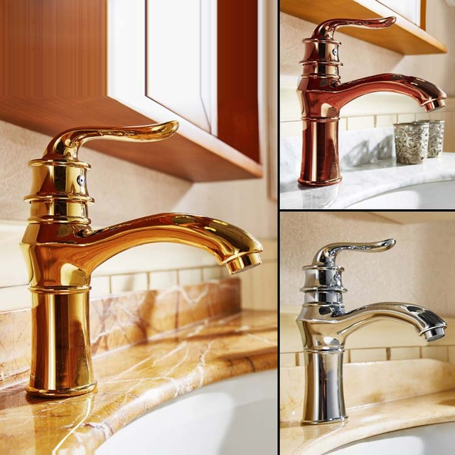 New Various Type And Color Charming Sink Antique Goldrose Gold - Gold and chrome bathroom faucets