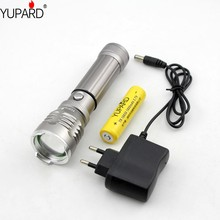 YUPARD 5W LED zoom camping focus torch outdoor lantern zoomable high power flashlight with magnet+18650 battery+direct charger