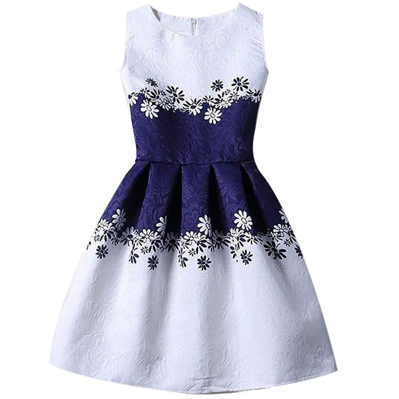 Summer Girl Print A-line Dress Party Formal Casual Sleeveless Princess Blue Dress Floral for 6 8 10 12T Causal Holiday Clothing cute floral print sleeveless striped a line dress for girl