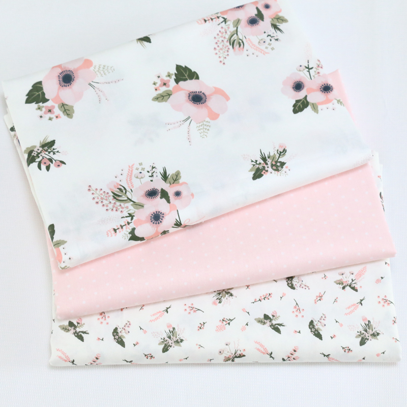 61c3d8c93 Pink Floral Twill Cotton Fabric For Diy Sew Patchwork Clothes Tilda ...