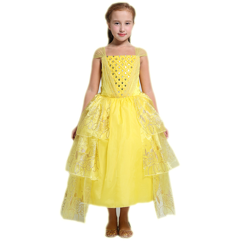 Fairy Tale Beauty and Beast Belle Kids Girl Cosplay Costume Children Yellow Princess Dress Christmas Halloween Party Dress