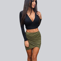 Women Fashion Stretch Waist Short Mini Skirts Sexy Pencil Clubwear Cross Fold Bandage Bodycon Skirts 2015