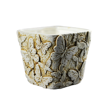 Nicole Silicone Mold for Cement Flowerpot Square with Butterfly Relief Pattern Concrete Mould
