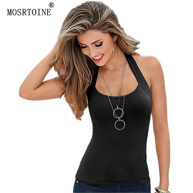 MOSRTOINE Women Tanks Backless Sexy 2017 Summer Sexy Tops Plus Sizes XXXL Cotton Soft Candy Colors Women Casual Tanks Tops New