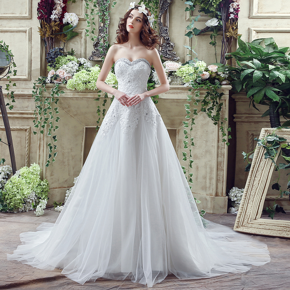 ANGELSBRIDEP Real Photo Crystal Lace Applique Strapless