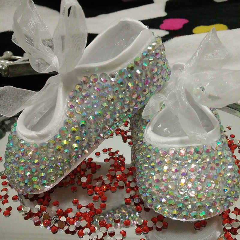 free shipping rhinestone Crystal Baby Girl Child shoes handmade Bling  diamond First bead soft shoes customize 54e16956dcc5