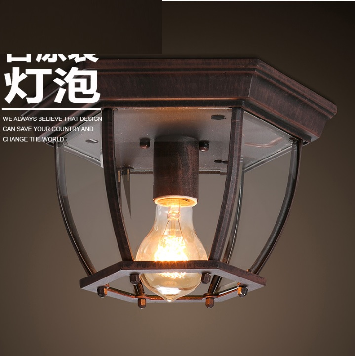 Hexagon Ceiling Lights Porch Lamps 270mm Wide with Sturdy Cast Aluminum Construction Lantern, come with filament bulbs