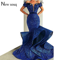 Muslim Off The Shoulder Arabic Feather Mermaid Formal Evening Party Dress Prom Gowns Robe De Soiree Kaftan Dubai Dresses 2019
