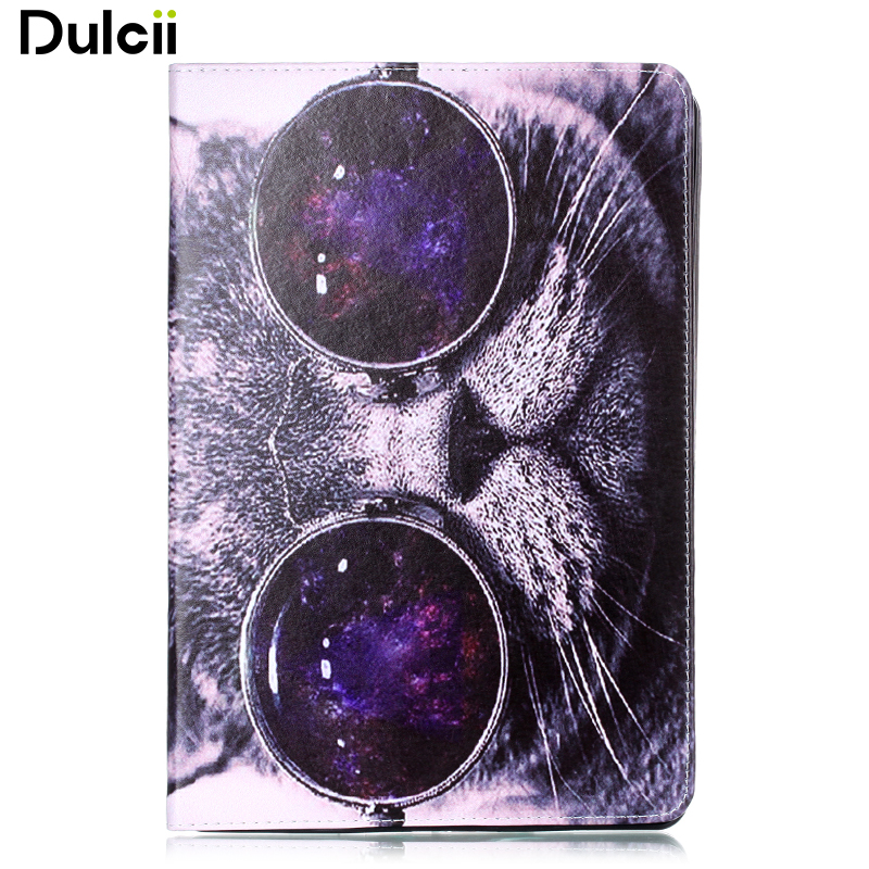 Dulcii Fundas capa for i Pad Pro (2017) Pattern Printing PU Leather Casing with Stand for i Pad Pro 10.5-inch (2017) - Cat