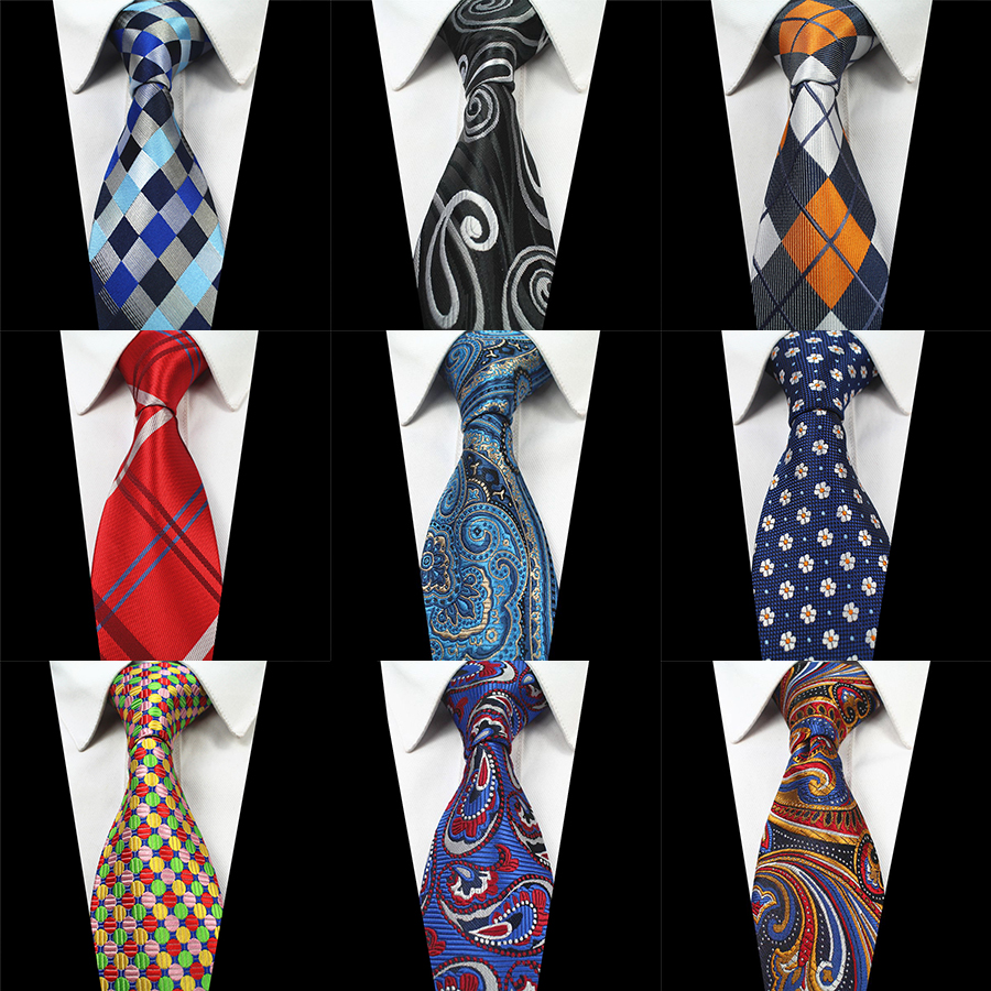 RBOCOTT Classic Silk Mens Tie 8cm Neck Ties Paisley Plaid&Check Necktie for Men Black Tie Business Red Wedding Party Gravatas