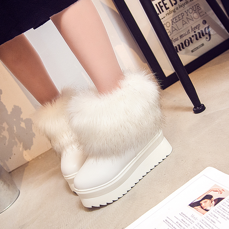 Fur Boots Female Fur Boots White Fox Fur Women's Autumn And Winter Thickened Thick Bottom Waterproof Shoes faux fur white winter boots
