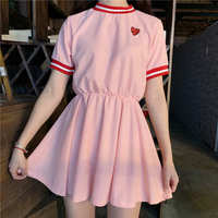 Japanese Women Harajuku Short Sleeve Sweet Dress 2019 Girls Kawaii Love Embroidery Dresses Female Cute Dresses PP 270