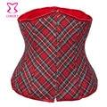 Xadrez vermelha Denim Lace Up Sexy Corset Underbust Cintura Instrutor Mulheres Corselet Gótico Bustier Corpetes E Espartilhos de Para Festa