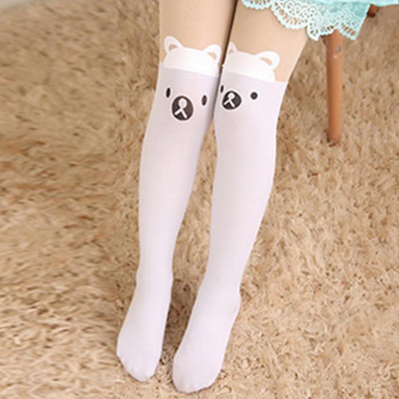 Baby Cute Pantyhose Kids tights Knee Fake Velvet Stocking White Cartoon cat Children's Princess Girl Tights Stockings Tights 5